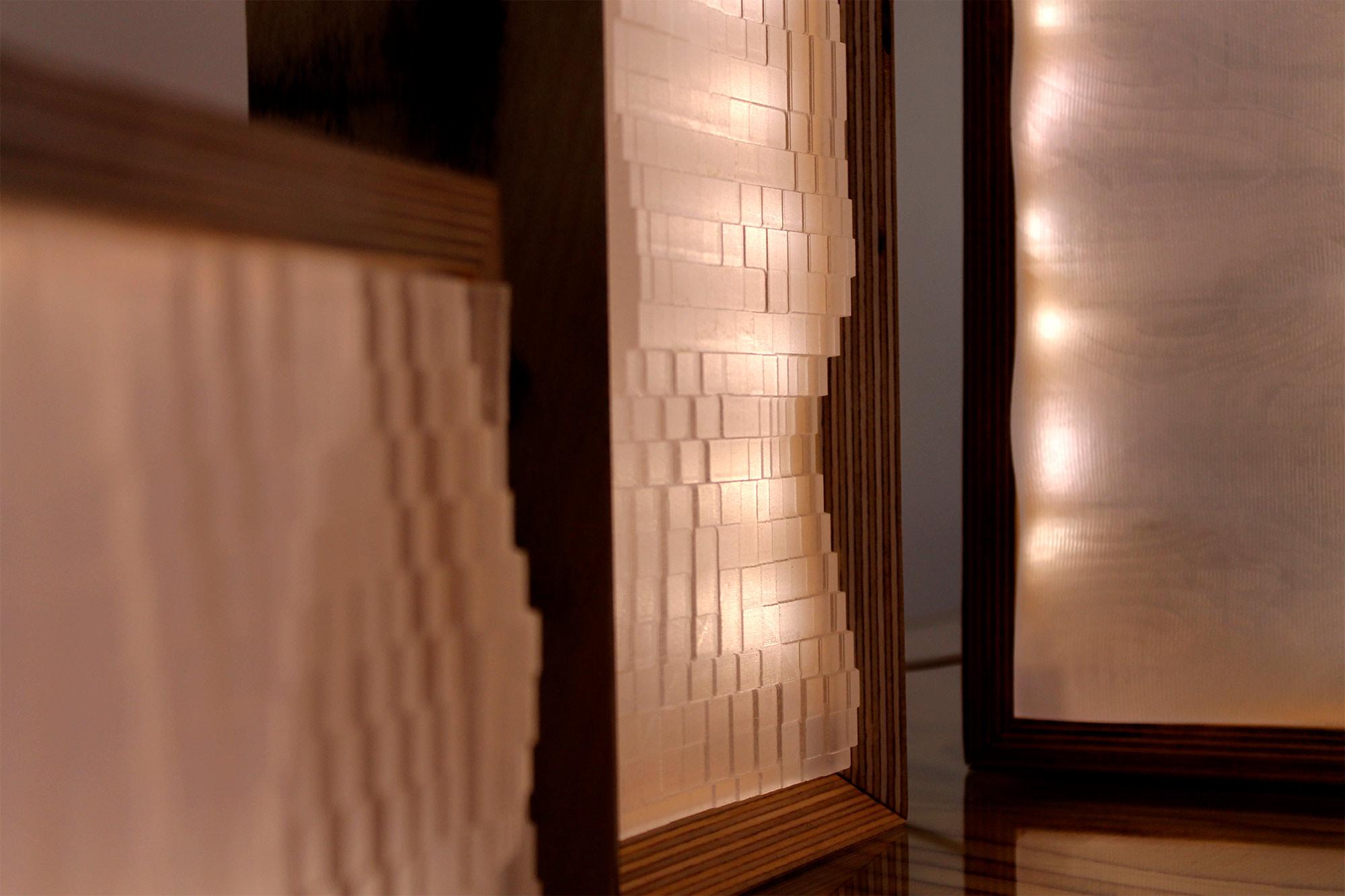 lámparas de mesa WAVEs, realizadas con técnicas de fabricación digital