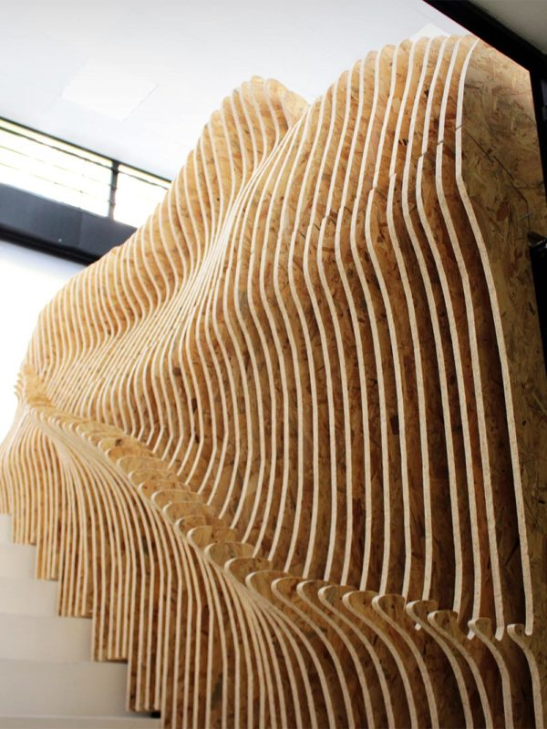 Mueble banco parametrico realizado con fabricación digital por 24Studio y EXarchitects