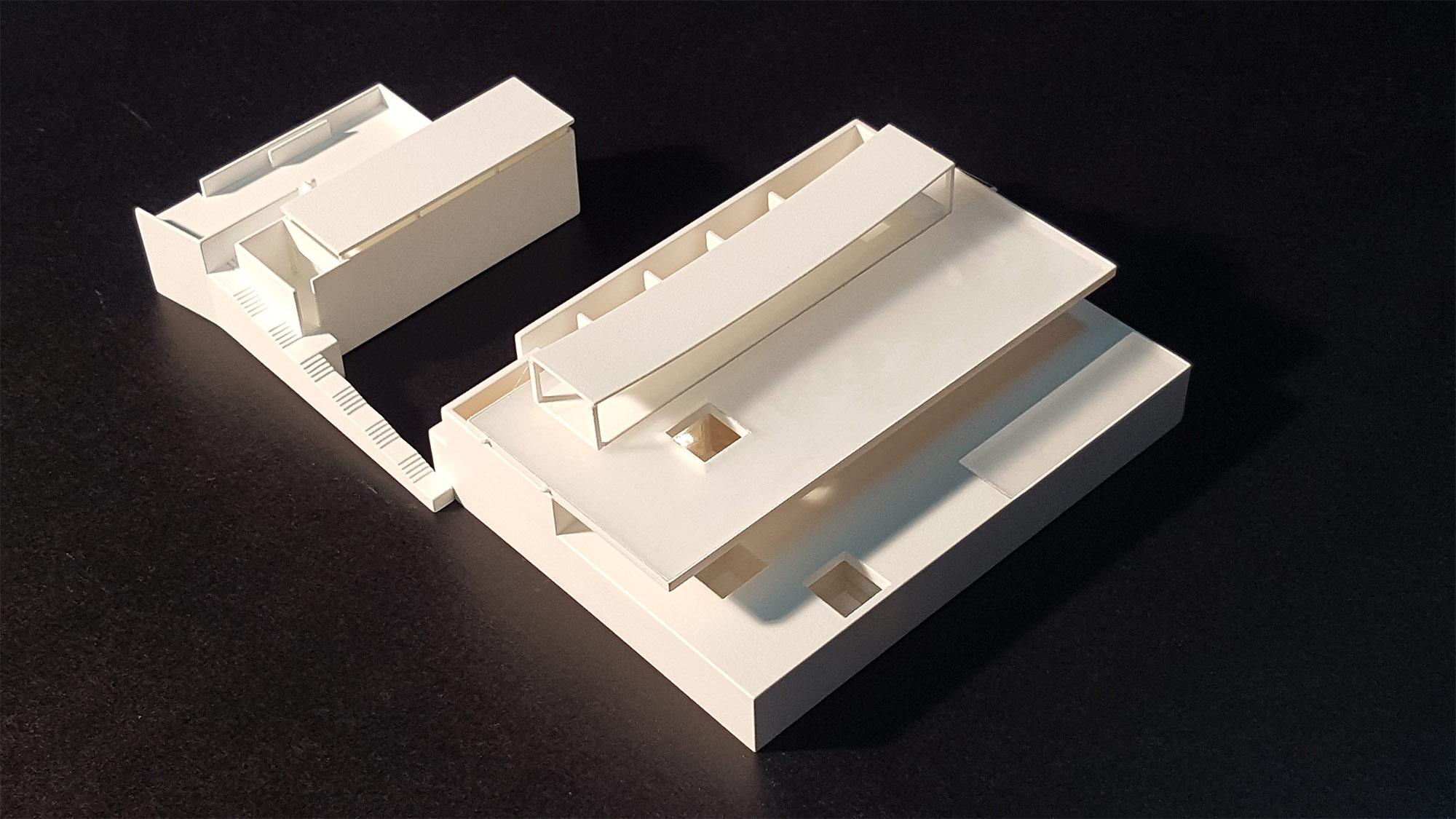 Maqueta en impresión 3D de una vivienda unifamiliar para el estudio Vicens + Ramos, fabricada por EXarchitects